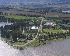 Aerial view of Theewaterskloof Dam resort