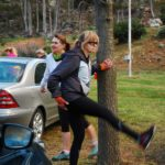 Stretching before the start of the Villiersdorp Parkrun