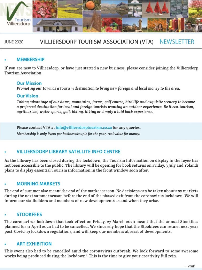 Villierdorp Tourism Newsletter June 2020 Page 3